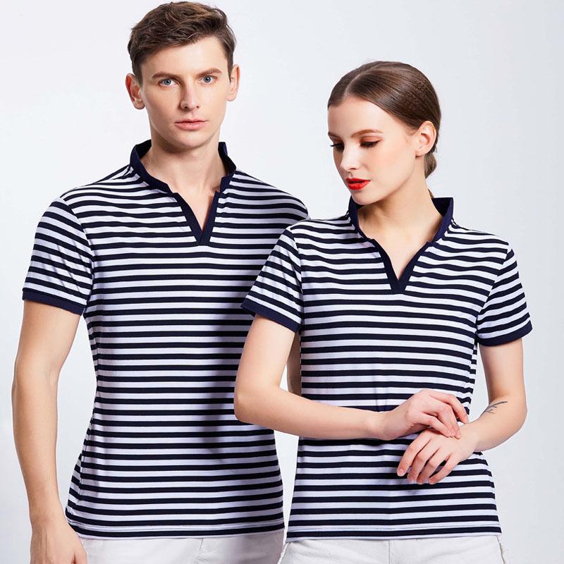 821OM8#条纹V领T恤工作服